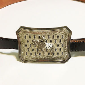 Vtg WESTERN BLACK LEATHER BELT BIG SILVER BUCKLE